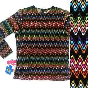 True Vintage🌈60s Rainbow Psychedelic Chevron Top!